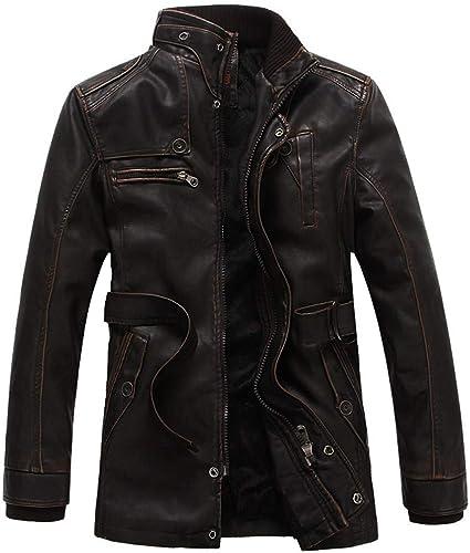 BESSKY Homme Top Autumn Winter mode veloursed Zipper Pure Couleur Imitation cuir Coat
