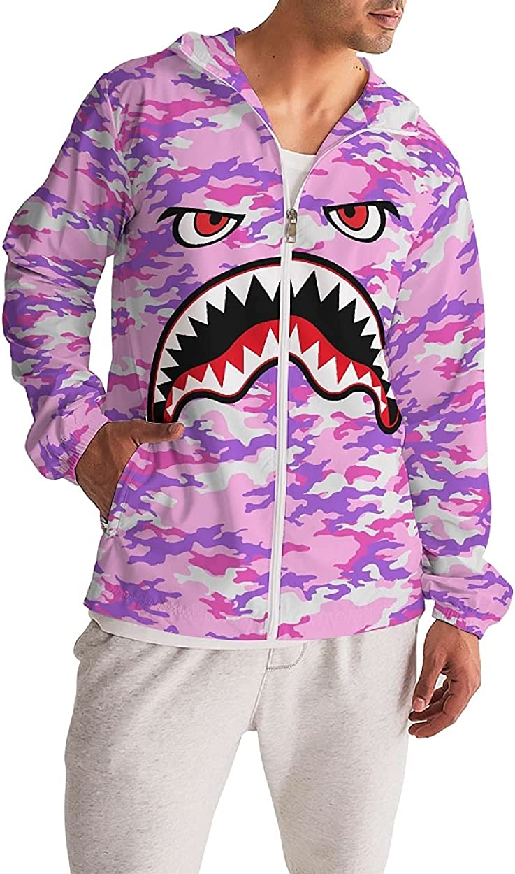 Mens Big and Tall Hoodie Windbreaker Men Rain Jacket Shark Pattern