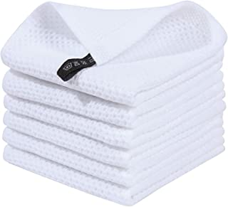 Homaxy 100% Cotton Waffle Weave Kitchen Dish Cloths, Ultra Soft Absorbent Quick Drying Dish Towels, 12x12 Inches, 6-Pack, ...