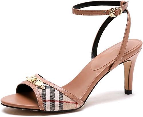Sandalias De Cuero para damen schuhe De Tacón Alto De Tacón Alto Combinación De Cuadros A Cuadros Moda Salvaje Vestido