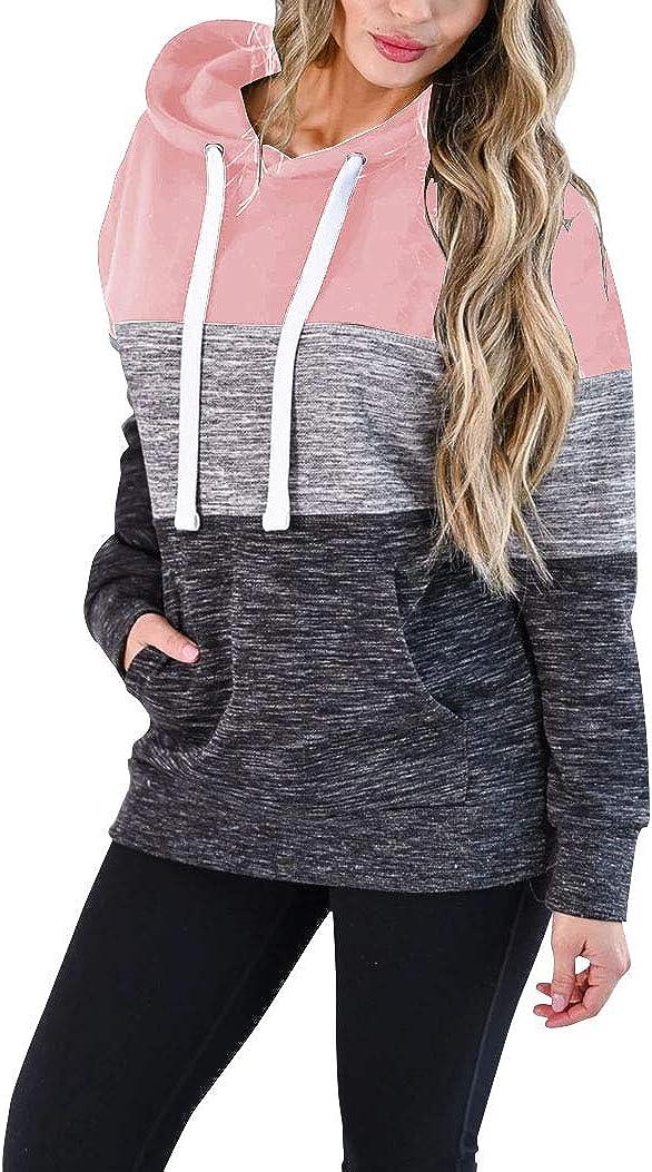 Vivitulip Women's Lightweight Pullover Hoodies Sweatshirt Color Block Long Sleeve Tunic Tops