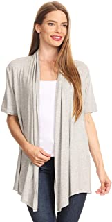 Women's Solid Casual Comfy Basic Short Sleeves Relaxed Fit Open Front Sweater Cardigan/Made in USA