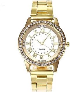 Souarts Unisex Round Rhinestone Big Dial Roman Numeral Analog Quartz Wrist Watch