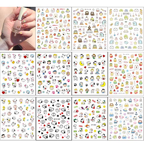 11 Sheets Cute Animal Nail Art Sticker, Dog Cat Chick Nail Adhesive Sticker Nail Decal for Nail DIY Decoration Nail Accessories Decorations for Women Girls