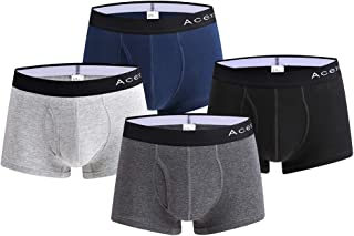 Acexy Men's Boxer Shorts 4 Pack Underwear Boxer Shorts Basic Trunk Underwear Men's
