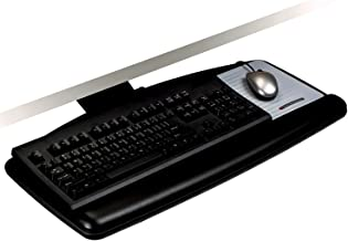 3M Keyboard Tray with Sturdy Wood Platform, Just Lift to Adjust Height and Tilt for Comfort, Swivels and Stores Under Des...