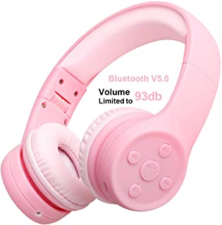 Kids Bluetooth Headphones Yusonic Wireless Over Ear Volume limiting Foldable Headset with Mic Stereo Cordless Ear Muffs for Cell Phones TV Computer Toddler Tablet Game School Boys Girls (Pink 2