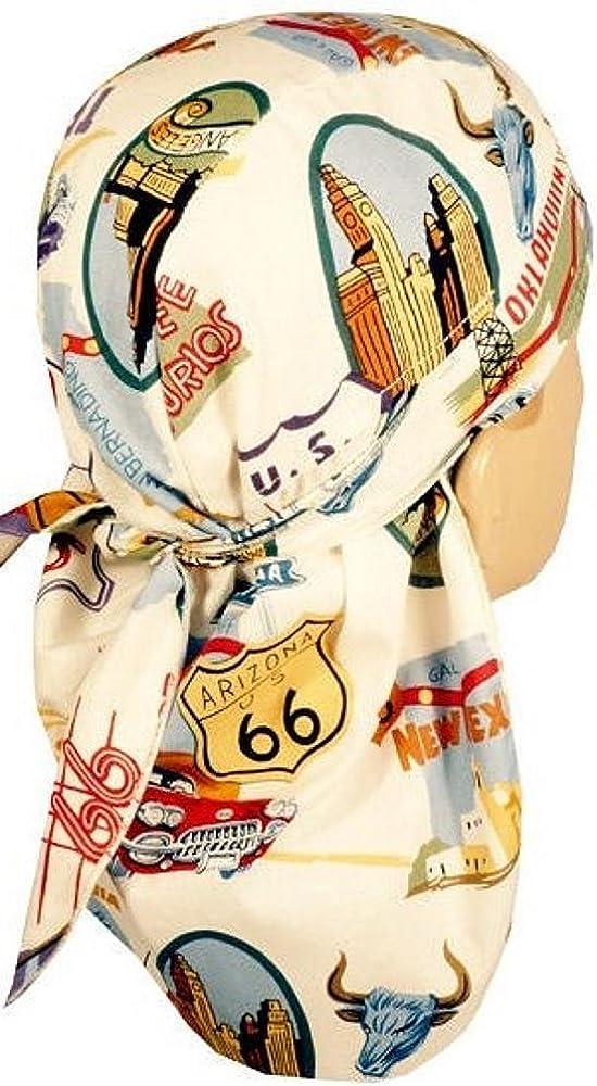 Sparkling EARTH Desert Skull Cap Biker Style Headwraps Doo - Route 66 on Cream