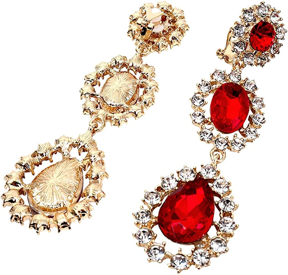 Shiny Red Crystal Dangle Clip on Earrings for Women Teen Girls Gifts Teardrop Drop Layered Hoop Ear Clips Back Adjustable Gold Plated Fashion Non Pierced Punk Jewelry Inlaid Rhinestone