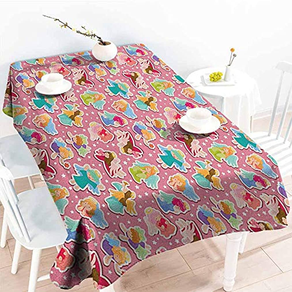 VIVIDX Custom Tablecloth,Angel Magical Angels with Wings Tinsel Easter Praying Elves Innocence Baby Artful Graphic,High-end Durable Creative Home,W60X102L, Multicolor
