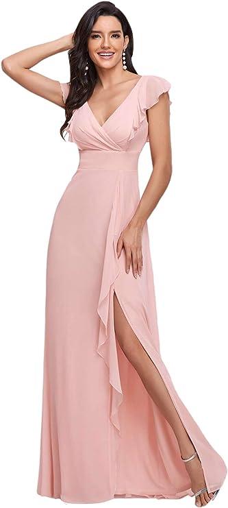 70s Sequin Dresses, Disco Dresses Ever-Pretty Womens Spilt Side Sleeveless Chiffon Long Bridesmaid Dress 0208  AT vintagedancer.com