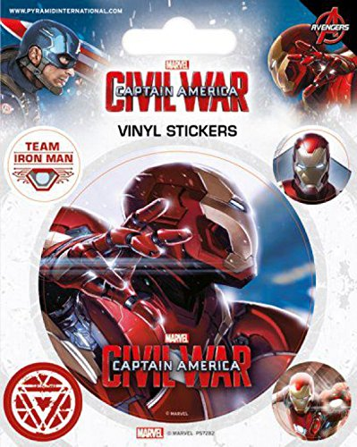 1art1 Captain America - Civil War, Iron Man Poster-Sticker Tattoo Aufkleber 12 x 10 cm
