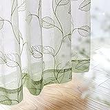 Sheer Curtains for Bedroom Rod Pocket Embroidered Leaf Window Curtains 84 inch Length Botanical Geometric Drapes Living Room 2 Panels Sage