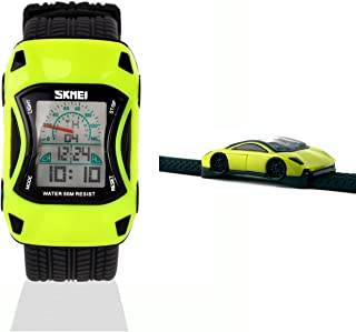 lilihe Kids Watches Boys Waterproof Sports Digital LED Wristwatches 7 Colors Flashing Car Shape Wrist Watches for Children,for Age 3-10