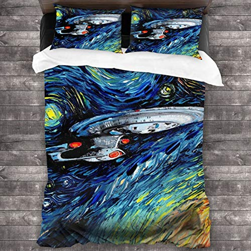 GmCslve Star Trek Bettwäsche-Kollektion, luxuriöses 3-teiliges Set, ultraweiche Mikrofaser, 213 x 178 cm, Bettbezug mit zwei Kissenbezügen