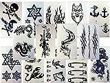 10 TATUAGGI TEMPORANEI UOMO, adesivi, piccoli, per il corpo, drago, volpe, teschio e molto altro, di colore nero