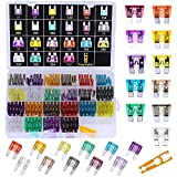242pcs Assorted Standard & Mini Auto Car Truck Blade Fuses Set- 2A 3A 5A 7.5A 10A 15A 20A 25A 30A 35A 40A-ATC/APR/ATO+ATM Mini Automotive Replacement Fuse Assortment Kit w/A Puller for Boat,RV,SUV
