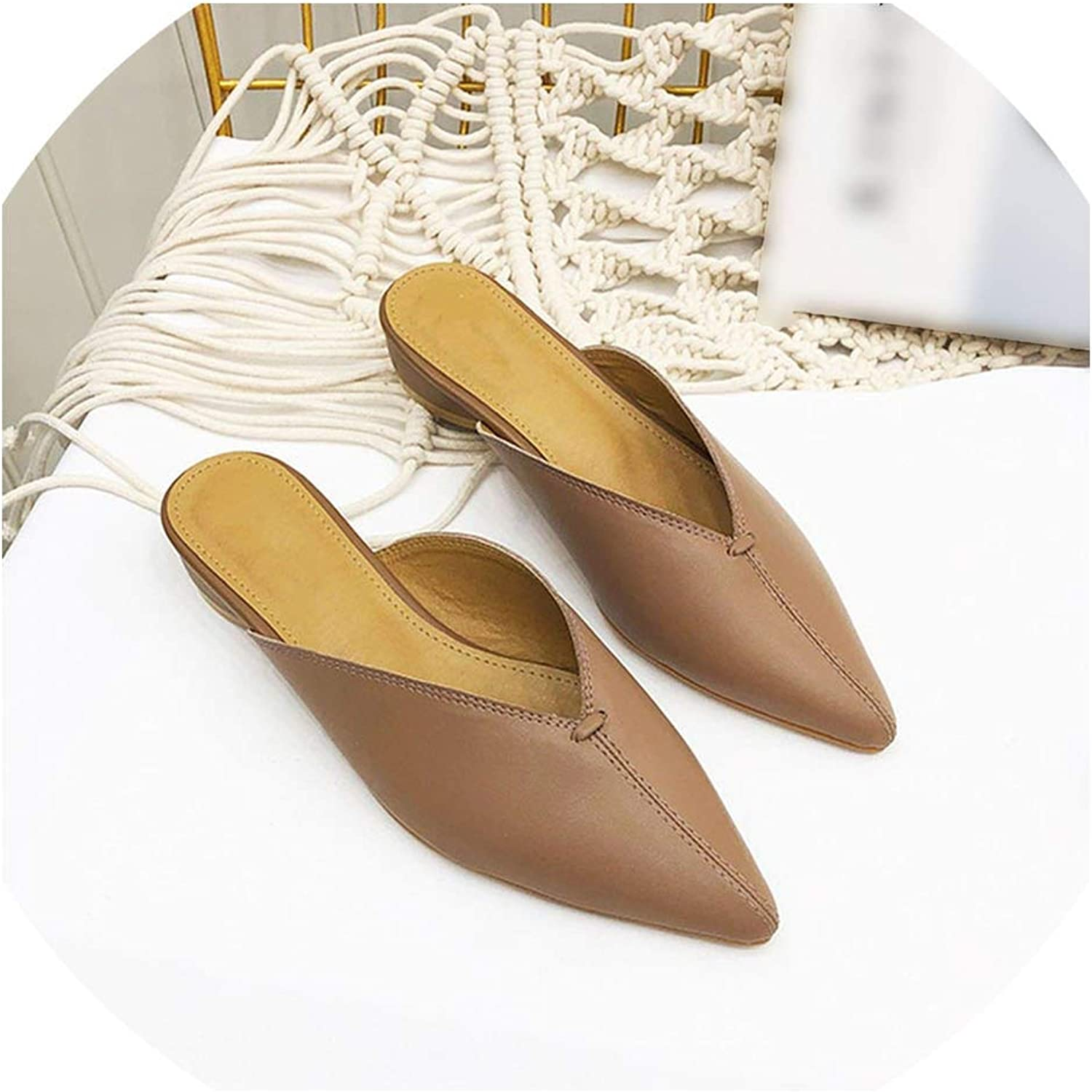 Woman Low Heels Slippers Pointed Toe Slides Slip On Loafers Leather shoes