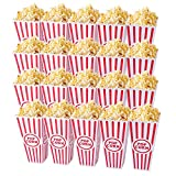 Tebery 20 Pack Plastic Open-Top Popcorn Boxes Reusable Movie Theater Style Popcorn Container Set -7.7' Tall x 4' Square
