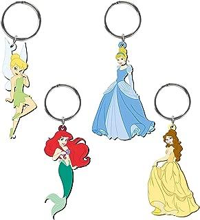Disney Classic Princess Cinderella, Belle, Tinker Bell, Ariel 4 Piece Soft Touch PVC Key Ring Gift Set
