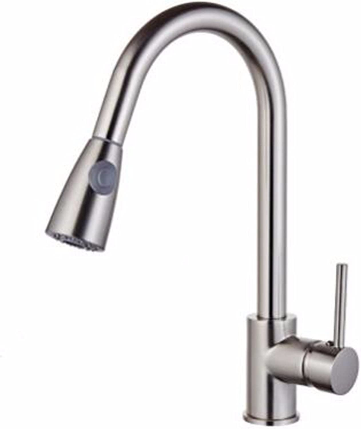 JFBZS-kitchen sink taps Kitchen Pull Faucet Flume Vegetable Basin Hot And Cold redating Nickel Wire Faucet
