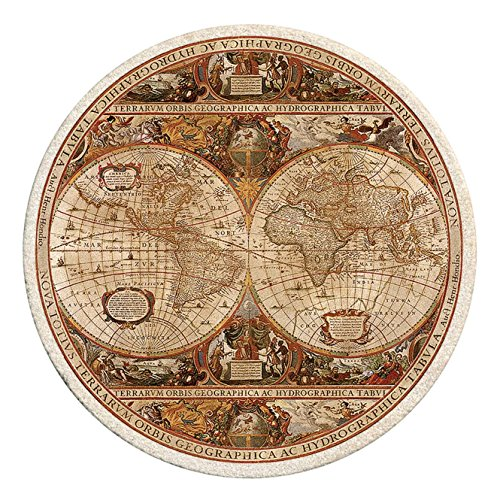 Thirstystone Old World Passages Printed Sandstone Coaster Set, Antique Map