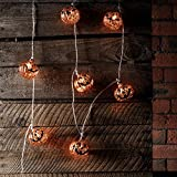 10er LED Kürbis Lichterkette Halloween Timer Batteriebetrieb Innen Lights4fun