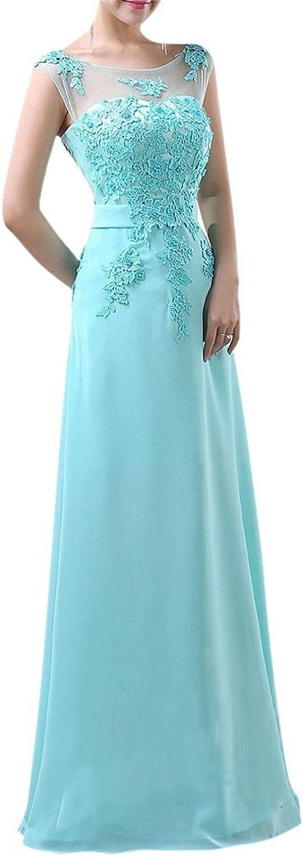 Oppicong Women's Sleeveless Bridesmaid Dresses Handmade Appliques Long Evening Gown