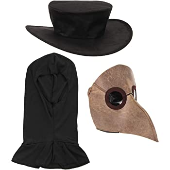 Amazon Com Keasuzy Steampunk Plague Doctor Hat Leather Belt Black Top Hat Witch Magician Hat Costume Props Clothing