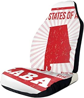 MIOMIOK Seat Covers Vehicle Protector Car Mat, State of Alabama Map On Grungy Radiating Lines Starbust Pattern Background,Fit Most Cars, Sedan, Truck, SUV,2pcs