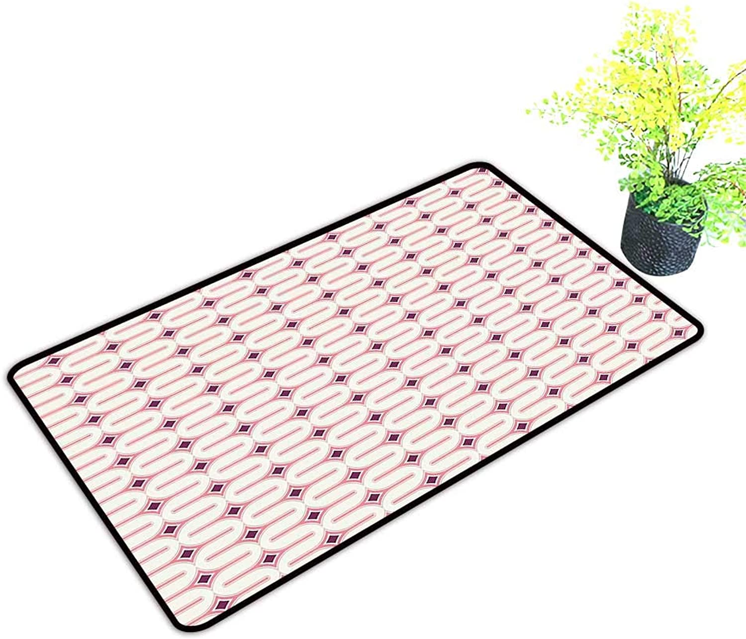 Gmnalahome Front Welcome Entrance Door Mats Ornamental Geometric Forms Artistic Decorative Background Light Pink Marigold Cream Home Decor Rug Mats W39 x H19 INCH