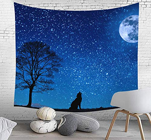 Elinna Howling Wolf Starry Sky Wall Hangings Tapestry Large Wall Art 51 X 59 Inches Dark Blue 60x51in(130x150cm)
