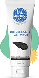 The Moms Co. Natural Clay Face Wash (100 ml) with Moroccan Lava Clay & Kaolin || Activated Charcoal || Purifies,Detoxes & Brightens Normal to Oily Skin & Removes excess Oil from skin