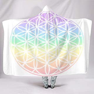 Colorful Flower of Life Rainbow Fantasy Ombre Style Print Hooded Blankets Fashion Cuddly Warm Winter Plush Sherpa Hooded Blankets for Women Men Teens Sleeping Sofa Bedding White 60x80 inch