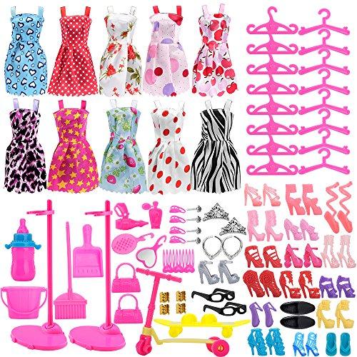 Asiv 110Pcs Kleidung zubehör Set Für Barbie Puppen, 10 Pack Kleider + 14 Paar Schuhe + 16Pcs Kleiderbügel + 2Pcs Puppe Stand Halter + 68Pcs Accessoires für Kinder Geschenk