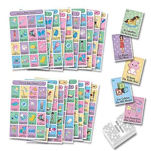 MoreFiesta Baby Shower Loteria Bingo Bilingual - English Spanish, for 20 Players
