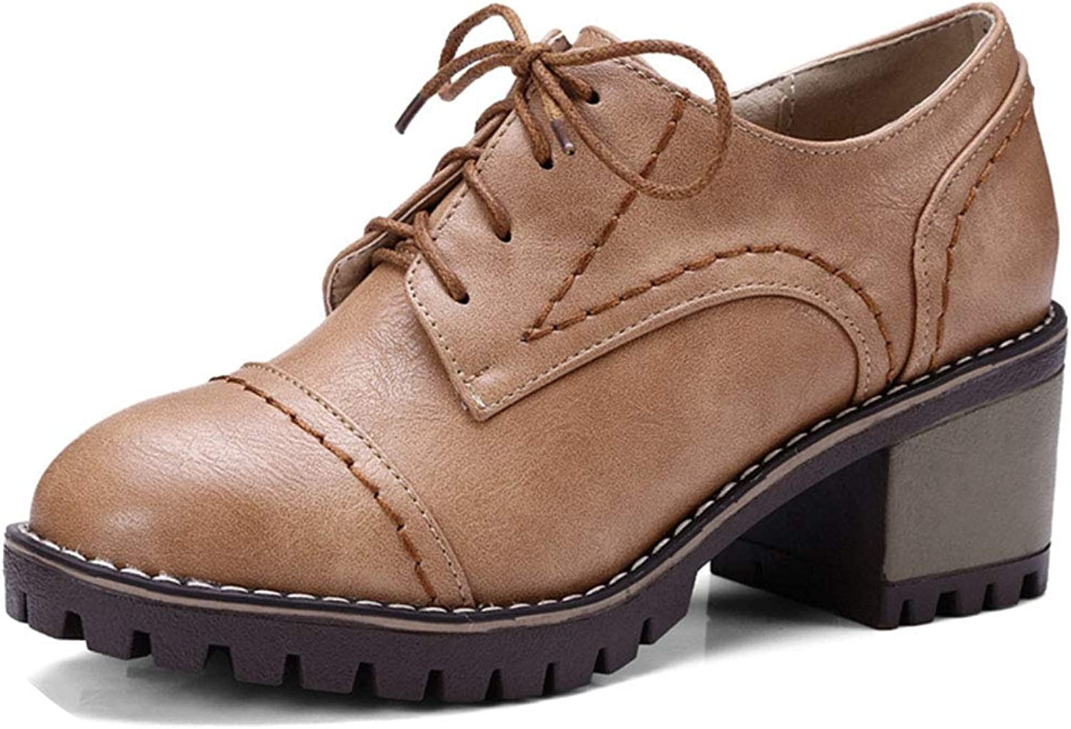 GIY Women's Classic Chunky Heel Ankle Booties Round Toe Lace up Slip-On Handmade Platform Oxford shoes