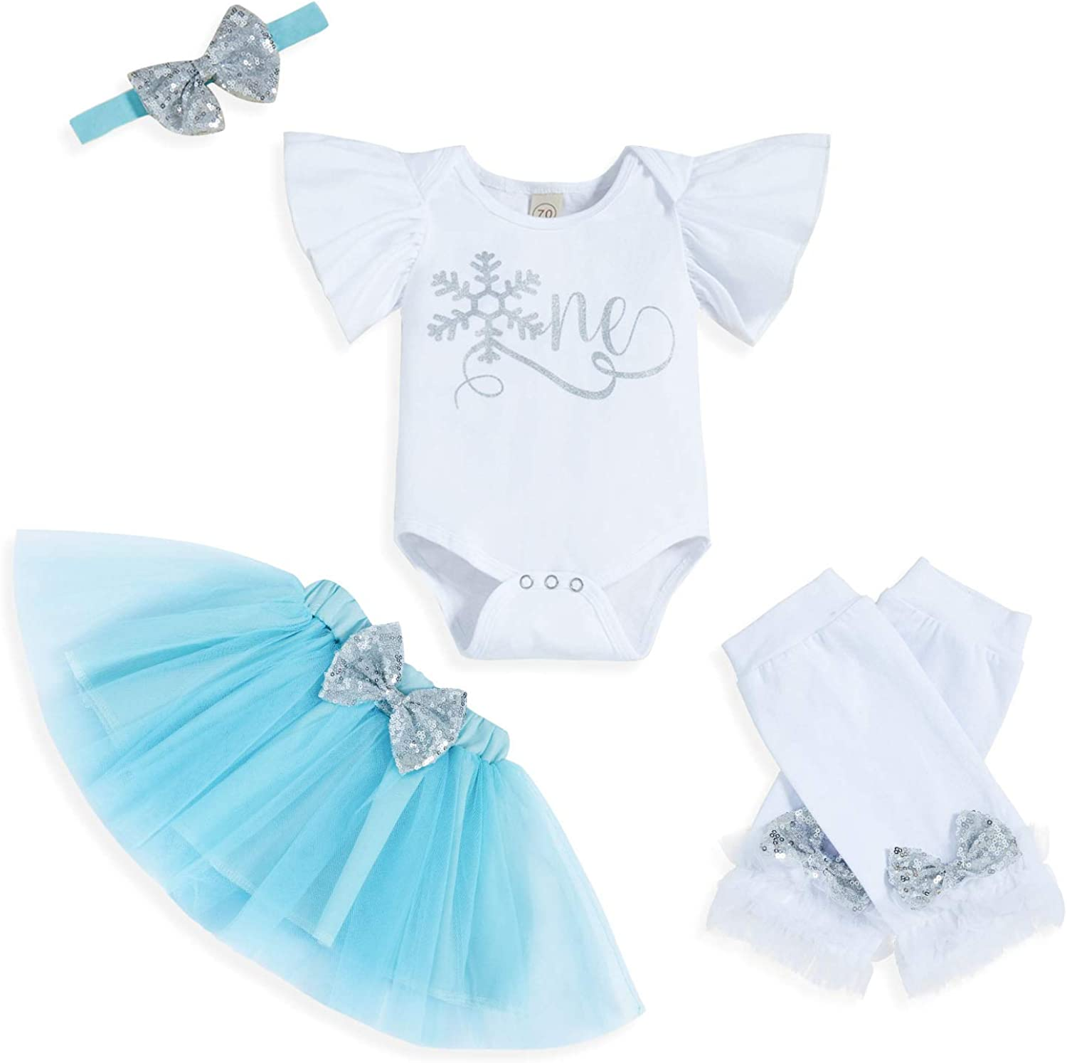 Baby Girl My 1st Birthday Outfit Long Sleeve Letter Print Romper + Tutu Skirt Leg Warmers with Headband 4pcs Clothes Set