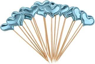 Prettyia 20 Pieces Heart Cupcake Picks Toothpick Cake Toppers Birthday Party Supplies - Light Blue