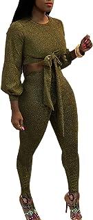ff6d52fbd087 Mujer Bodybuilding Primavera Otoño Ropa Casual Elegantes Vintage Colores  Sólidos Manga Larga Cuello Redondo Básico Crop