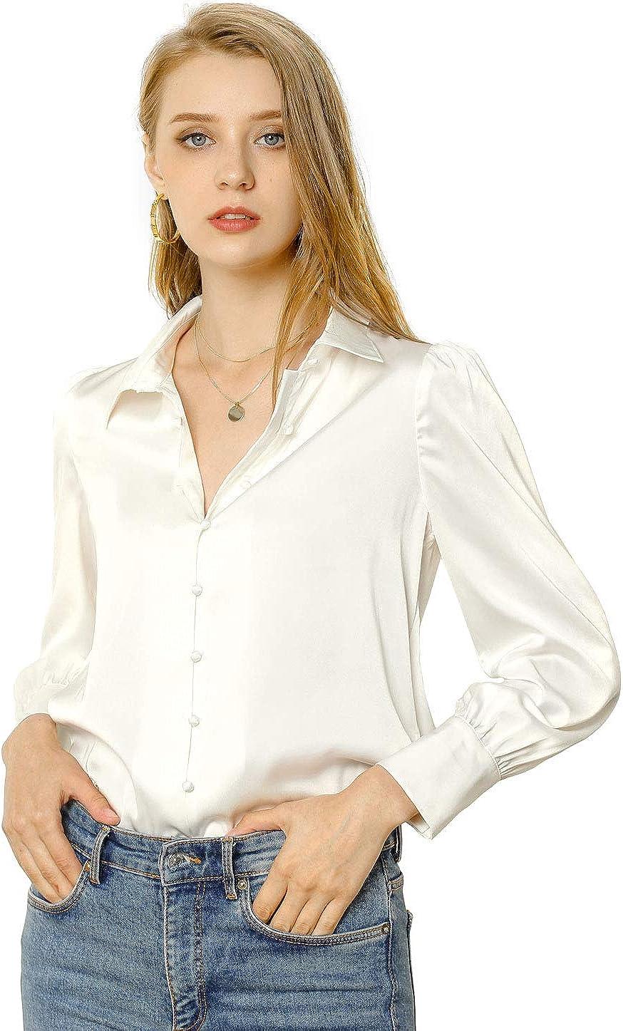 Allegra K Women's Satin Blouse Puff Sleeve Point Collar Vintage Button Up Shirt
