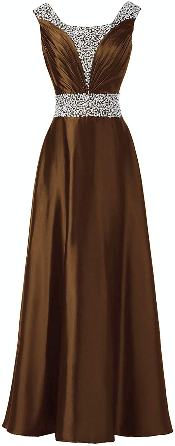 DINGZAN Vintage Satin Long Mother of The Bride Dress Evening Gown with Sequin