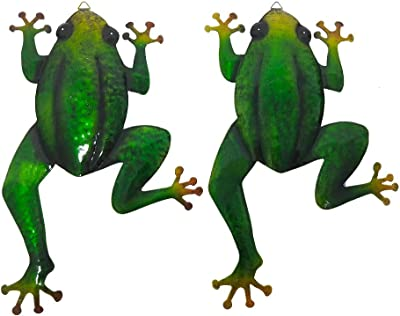 Metal Frog Wall Decor Hanging for Home Wall Ornament Fence Tree Indoor Outdoor, Set of 2