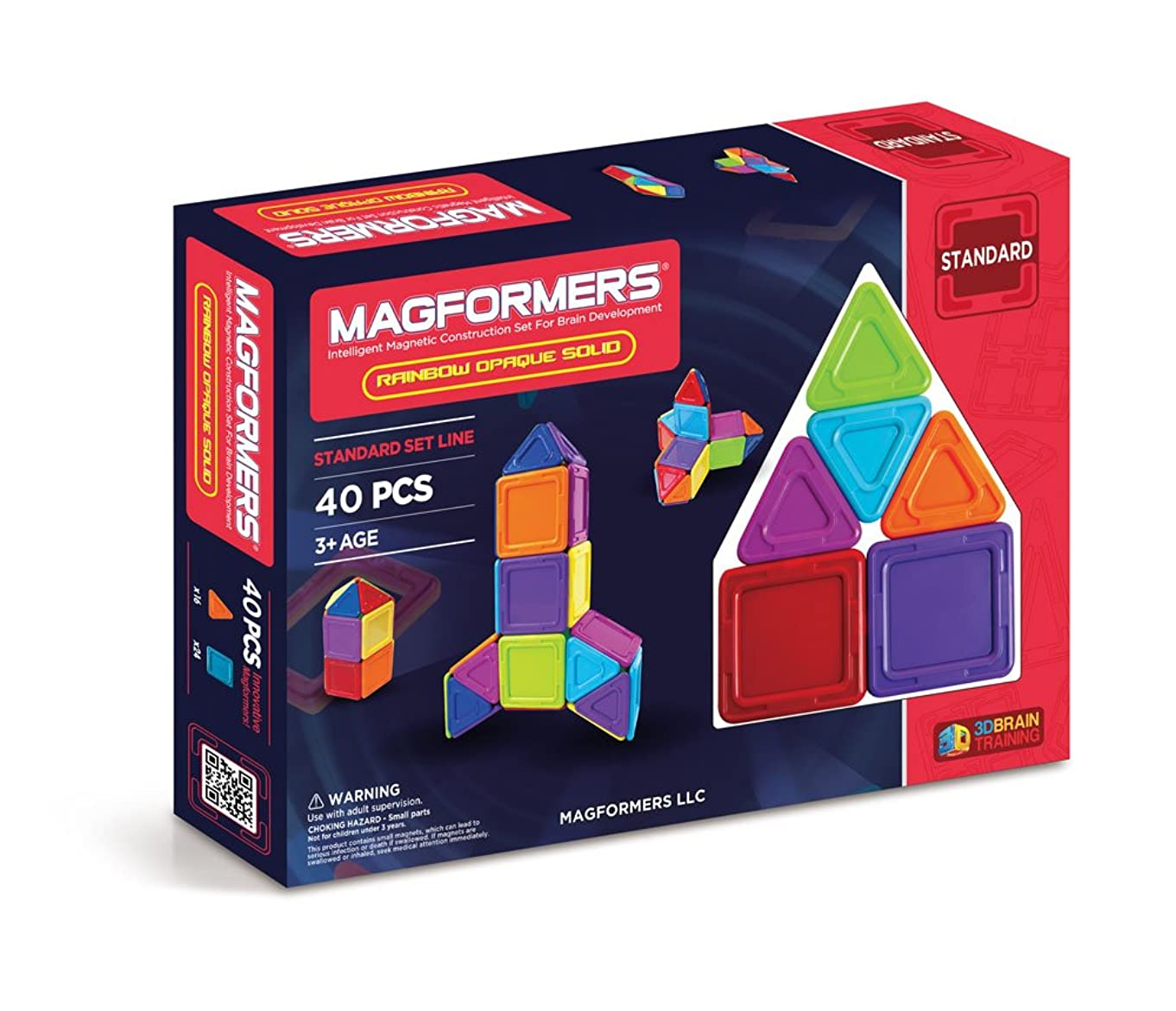 Magformers Rainbow Opaque Solid (40-Pieces) Set Magnetic    Building      Blocks, Educational  Magnetic    Tiles Kit , Magnetic    Construction  STEM Toy Set