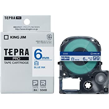 キングジム テープカートリッジ テプラPRO SS6B  6mm 白 青文字