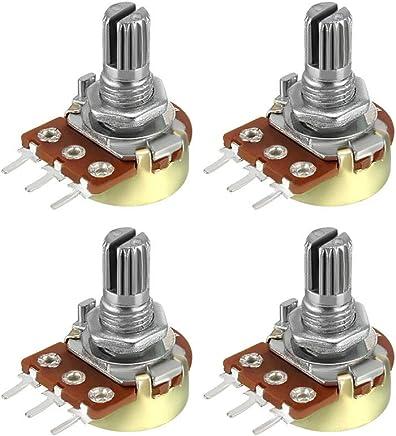 uxcell WH148 可变电阻器单转旋转碳膜锥度电压计 4pcs-100K a18072600ux0034