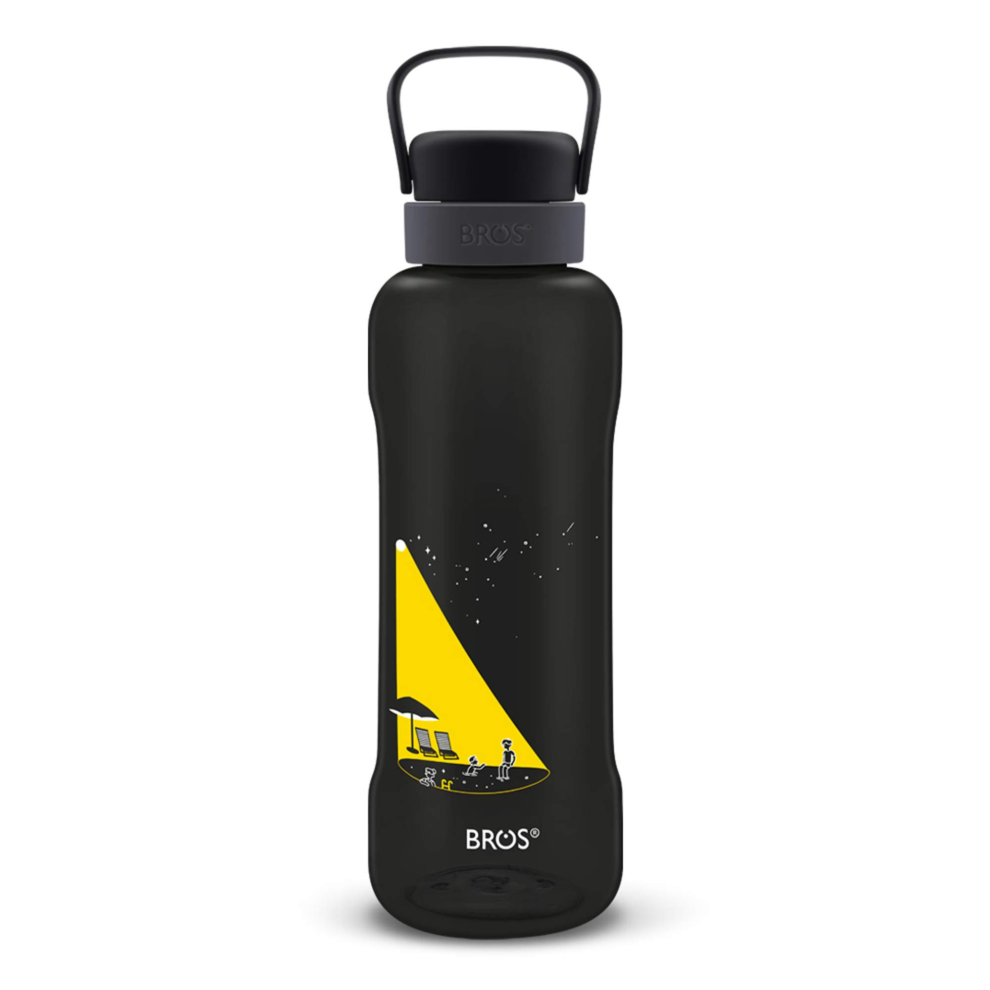 Capa Fitness Perfect for Gym Dual-Mouth Cap with Flexible Hook Handle to Carry Around BROS BPA Free 51oz Large Sports Water Bottle with Creative Designs Camping Durable and Leak Proof