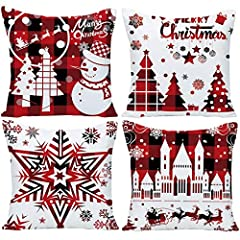 SIZE&MATERIAL:Buffalo Checker Red Christmas decorative throw pillow cover 24x24 Inch home sofa bedroom decor without inserts.Made of 100% environmental cotton linen. DESIGN:Both sides with same snowflake Christmas printings as showed in picture.Use i...
