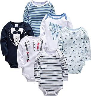 Minizone Baby Jungen Strampler 6 Pcs Body Langarm Pyjama Baumwolle Onesies Kleidung Overall Spielanzug Outfits Geschenk Neugeborenen 0-3 Monate