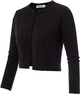 GRACE KARIN Women's 3/4 Sleeve Open Front Knit Cropped Bolero Shrug Cardigan Sweater